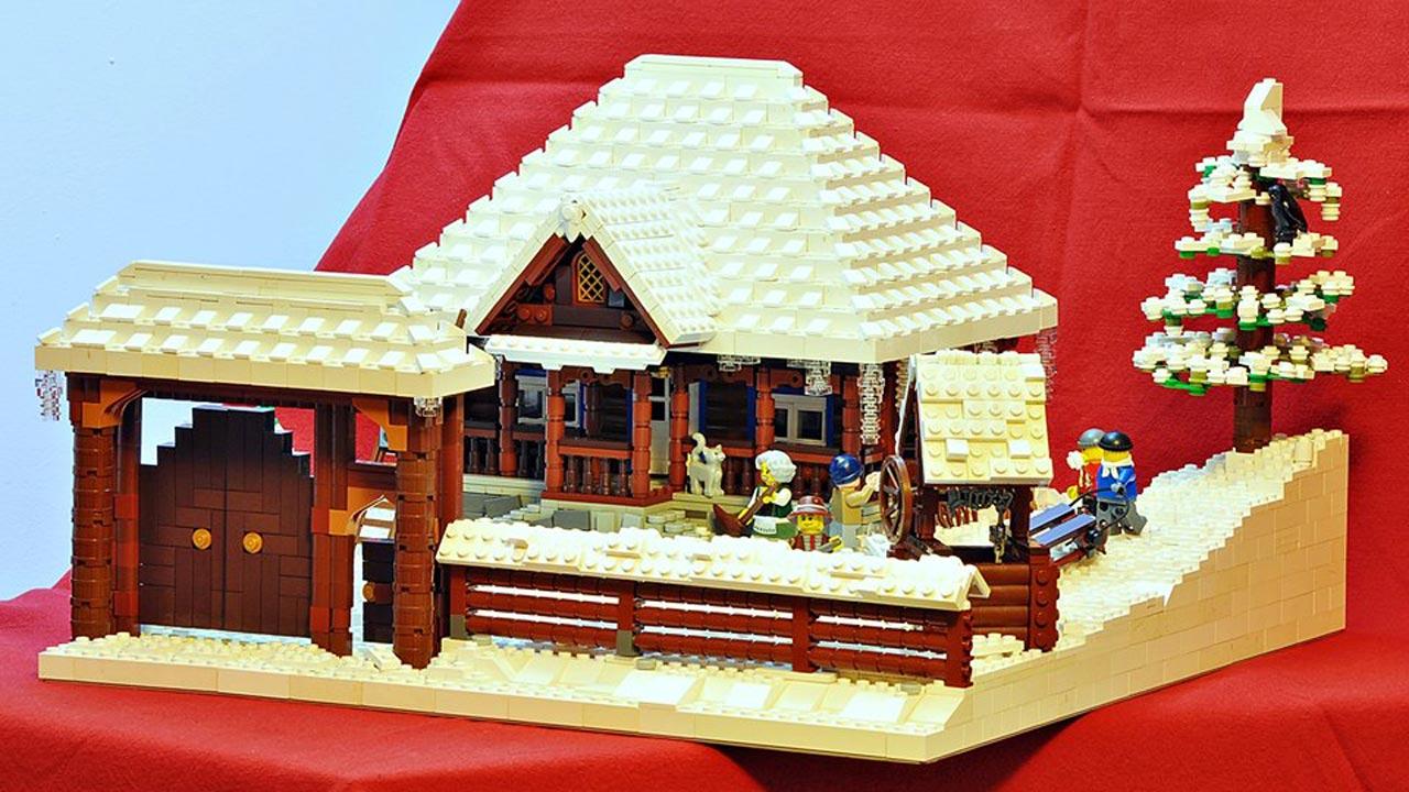 Iarna în Maramureș - machetă din piese Lego